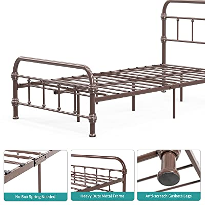 No Box Spring Needed Single Mattress Foundation Mecor Metal Twin Bed Frame with Vintage Headboard Footboard Sturdy Square Metal Frame Twin Antique Brown