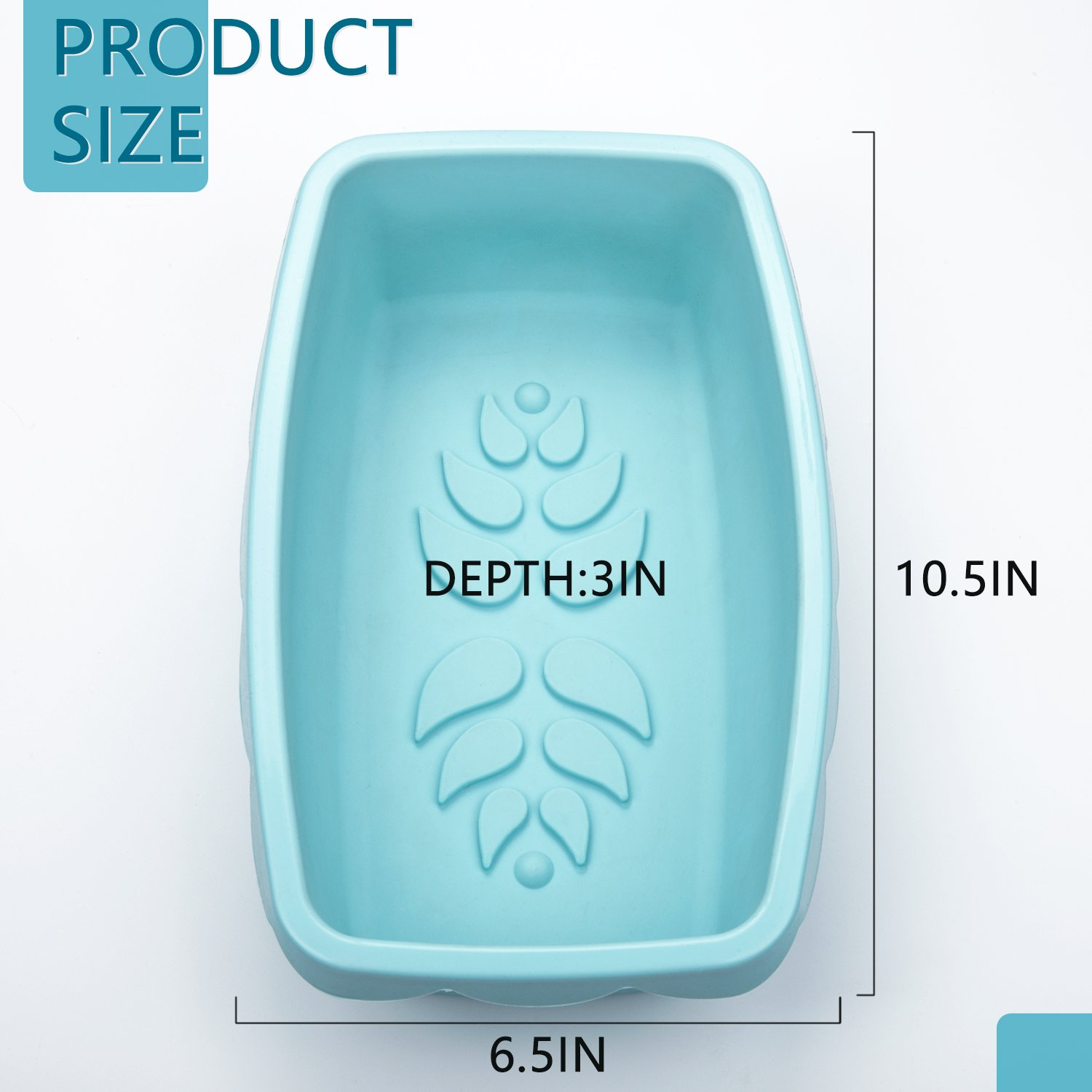 Silicone Loaf Pan Nonstick Bread Cake Baking Mold Rectangular with Decorative Pattern for Homemade Cakes Breads Meatloaf - 10.5 x 6.5 x 3.0 Inch - Microwave Dishwasher Safe, BPA Free by DOSHH (Image #2)