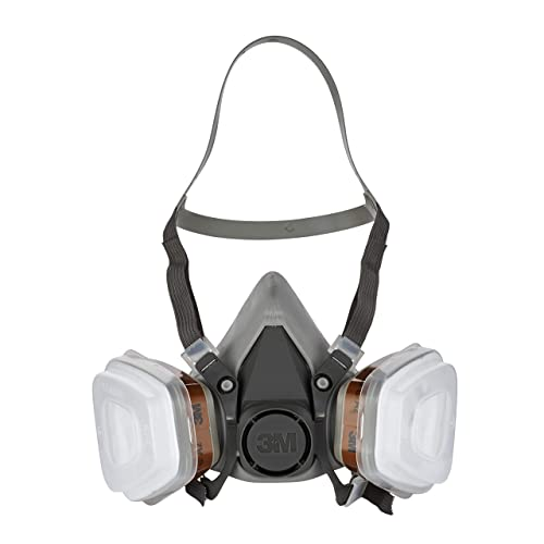 3M 6002 C1+R Respirator Half Mask with Replaceable Filters, Grey – Versatile and lightweight respirator with twin filter design – 1 x respirator mask