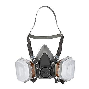3M 6002C, Mascarilla de seguridad – Semimáscara respiradora reutilizable para pintura con doble filtro –