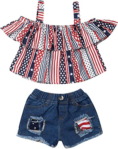Kid Baby Girls Denim Off Shoulder Strappy Crop Top Shorts Outfits Clothes Summer