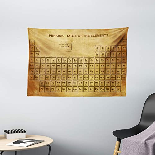 Ambesonne Science Tapestry, Elements Chemistry Table Vintage Old Design for Scientists Student Print, Wide Wall Hanging for Bedroom Living Room Dorm, 60 X 40 , Sand Brown
