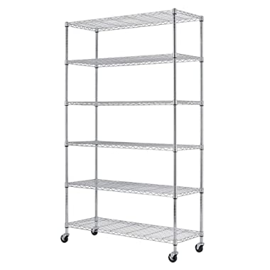 PayLessHere 6 Tier Chrome Commercial Adjustable Steel Shelving Systems On Wheels Wire Shelves, Shelving Unit or Garage Shelving, Storage Racks