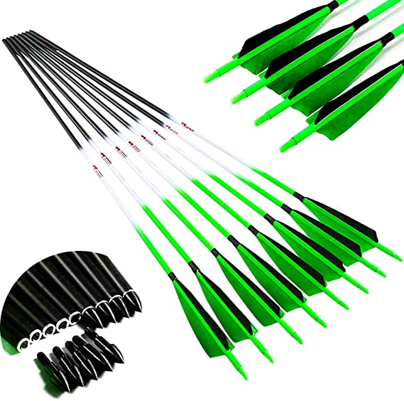 Linkboy Archery Carbon Arrows Hunting Practice Target Arrows Fluorescent with Removable Tip for Compound Recurve Long Bows