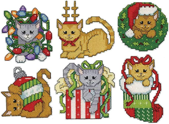 X9 Pets Animals In Stockings Cards Cat Dog Christmas Cross Stitch Chart