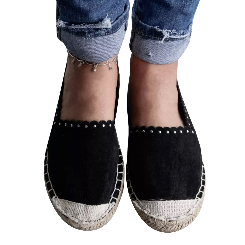 LAICIGO Womens Espadrilles Flat Sandals Flatform Casual Fashion Sneakers Closed Toe Slip on Cute Canvas Shoes