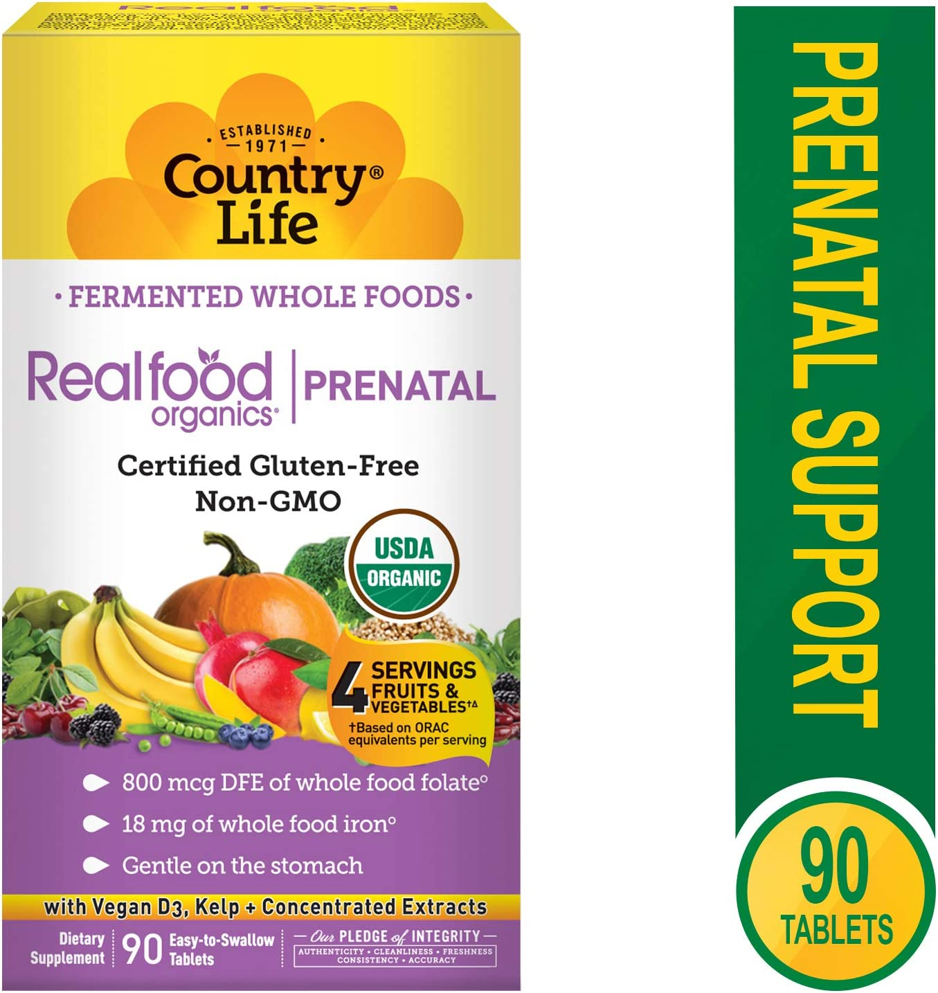 Country Life Vitamins, Prenatal, Organic, Fermented Wholefood, Non-GMO, Gluten Free, 90 Count