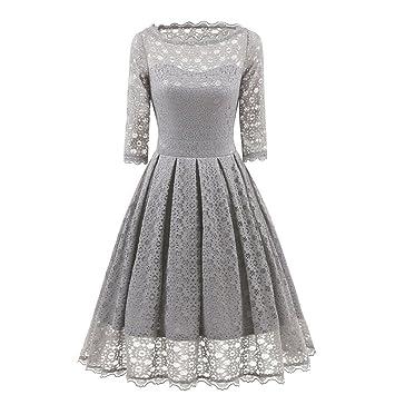 fe58569a21320b Kleid Damen Vintage Rundhals Kleid Spitzenkleid Knielang Festlich  Cocktailkleid Abendkleid Brautjungfer Kleid Btruely (L, Grau): Amazon.de:  Musikinstrumente