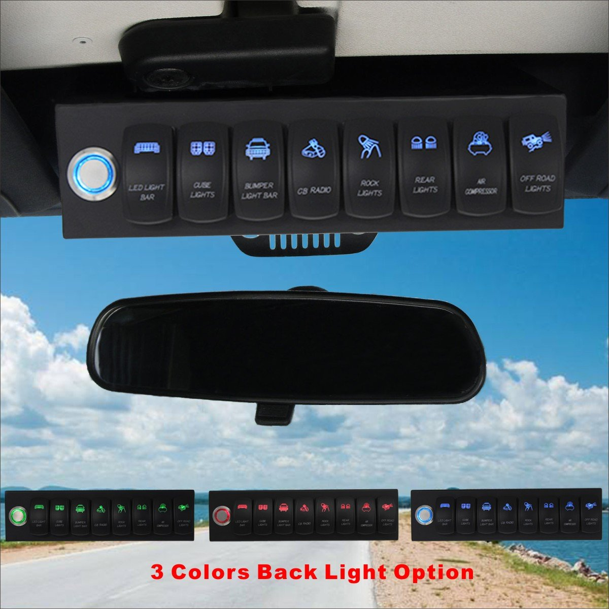 Voswitch Jeep Wrangler 2007-2018 JK & JKU Overhead 8-Switch Pod/Panel with Control and Source Box Blue Backlight(Comes with 15 Laser Etched Switch Covers) by Voswitch