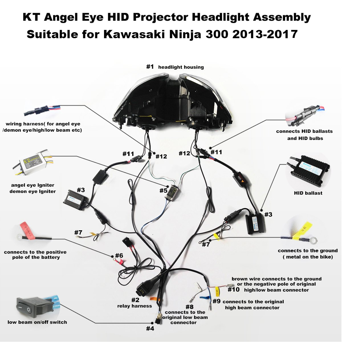 Kt Led Angel Eye Headlight Assembly For Kawasaki Ninja 250r Wiring Harness Diagram 300 250 2013 2017 V1 Green Demon Automotive