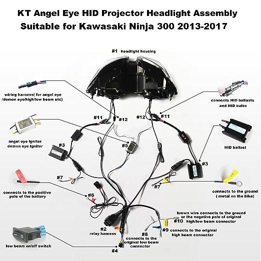 Amazon Kt Headlight Assembly For Kawasaki Ninja 300 250 20132017 V1 White Angel Eye Automotive: Kawasaki Ninja 250 Wiring Harness At Executivepassage.co