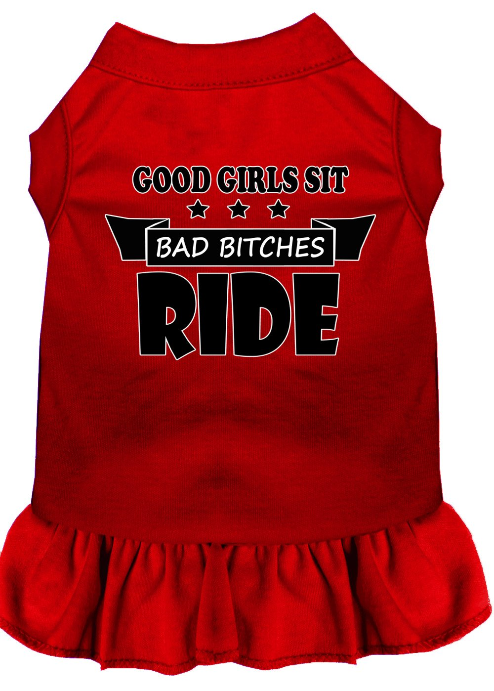 Mirage Pet Products 58-56 RD4X Bitches Ride Screen Print Dog Dress, 4X-Large, Red