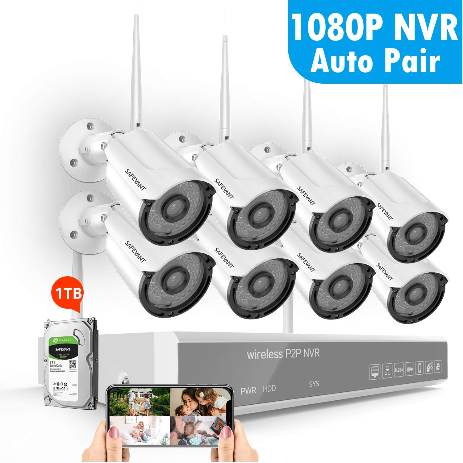 8CH 1080P Security Camera System Wireless,SAFEVANT Wireless Home Security Camera System(1TB Hard Drive),8PCS 960P Indoor/Outdoor IP66 Wireless Security Cameras,P2P,NO Monthly Fee by SAFEVANT