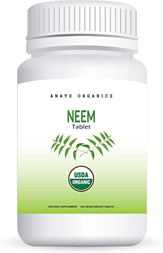 100 Organic Neem 820MG for Healthy Skin, Preventing Mild Acne, Detoxify Body, Blood Cleanser Purifier. 120 Vegetarian Tablets.