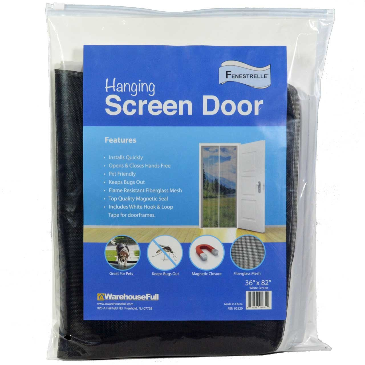 Fenestrelle Hanging Door Screen White Trim Durable Flame Resistant