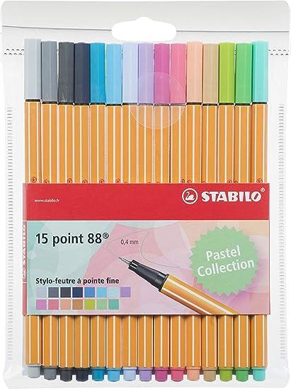 Stabilo Point 88 – Terciopelo de bolígrafos Punta Fina – Colores Neon, color Coloris pastel: Amazon.es: Oficina y papelería