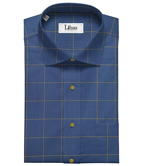 e3ae8825 Birla Century Men's Cotton Yellow Checks Shirt Fabric (Blue_1.60 Meter):  Amazon.in: Clothing & Accessories