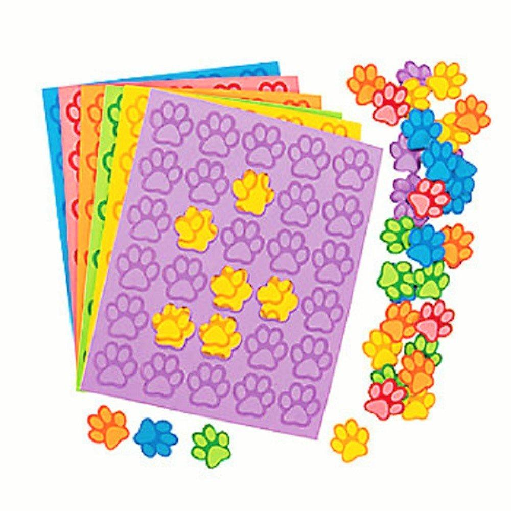 """100 ~ Paw Print Foam Stickers ~ Size: 1 1/4"""" x 1 1/4"""" ~ New"""