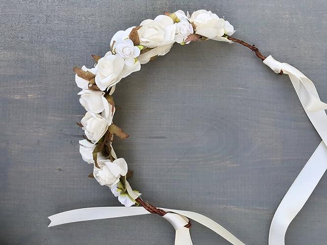 Amazon.com  White Rose baptism crown  Handmade 06604f3e05d