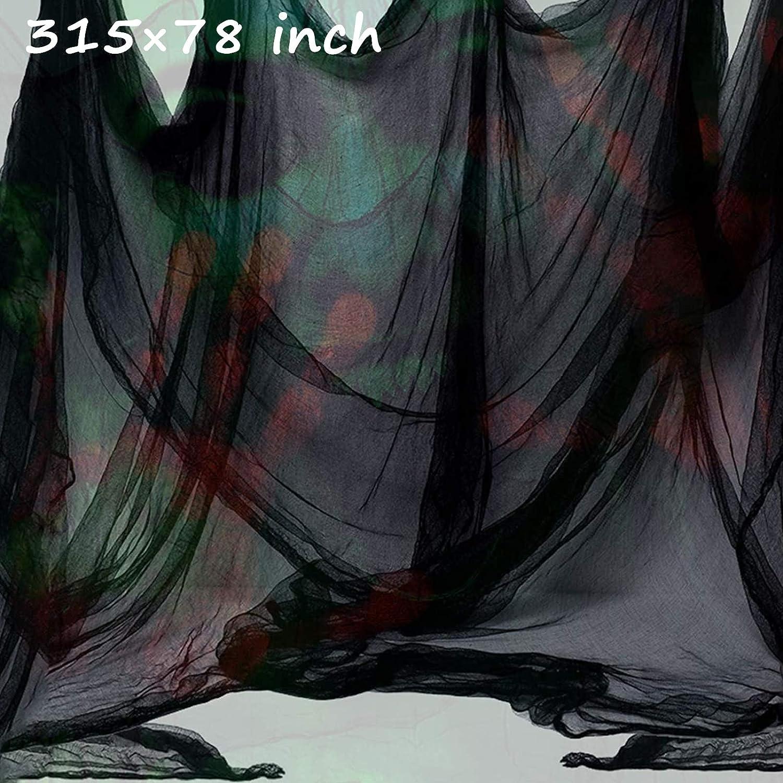 Halloween Creepy Cloth,Scary Spooky Cloth Creepy Gauze Freaky Black Creepy Cloth Fabric Scary Spooky for Halloween Party Decoration 315×78 inch