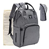 iDxiar Baby Changing Rucksack, Nappy Change Backpack Waterproof Diaper Bag w Changing Pad, Stroller Clips for Mum Dad Travel (Grey)
