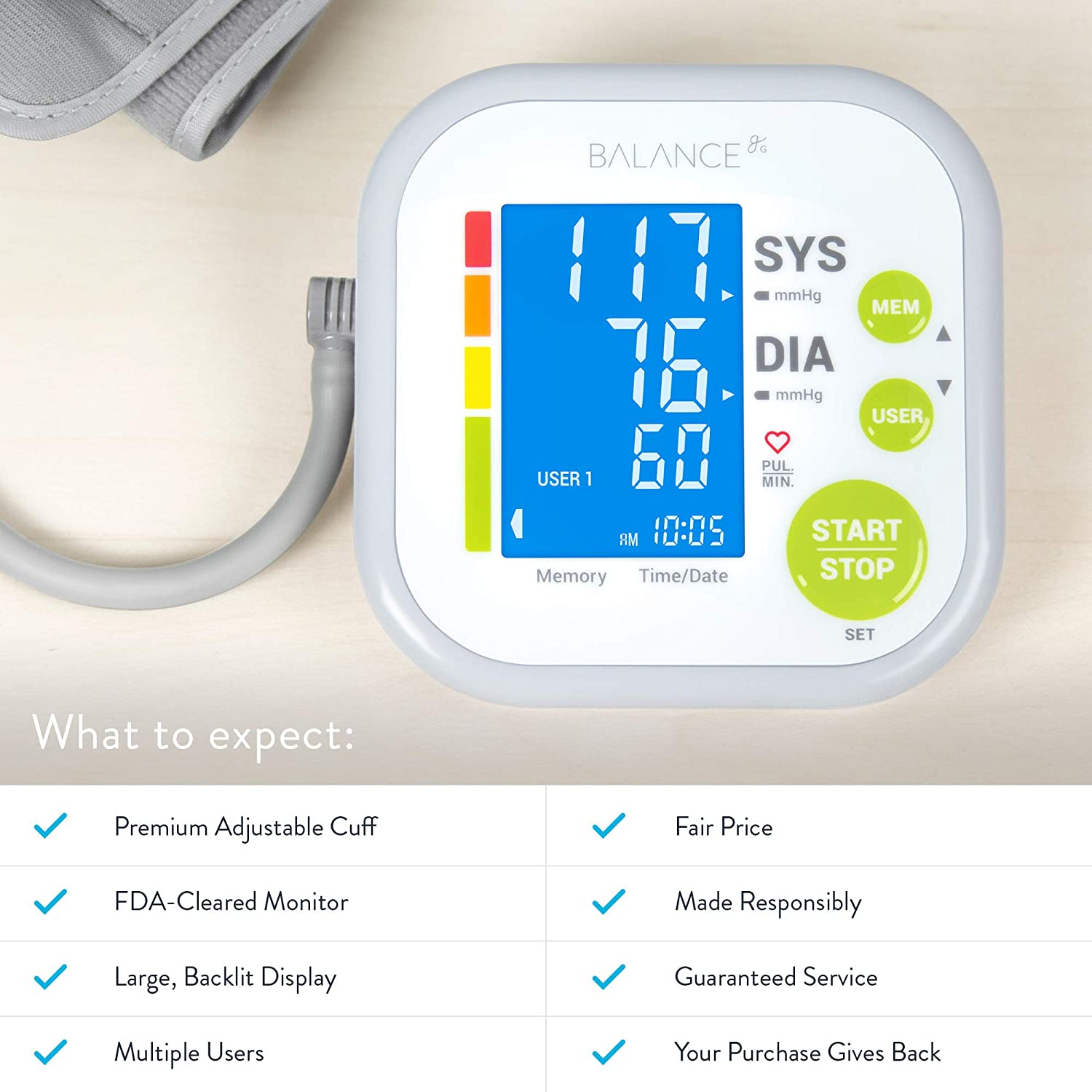 Greater Goods Blood Pressure Monitor Cuff Kit by Balance, Digital BP Meter with Large Display, Upper Arm Cuff, Set Also Comes with Tubing and Device ...