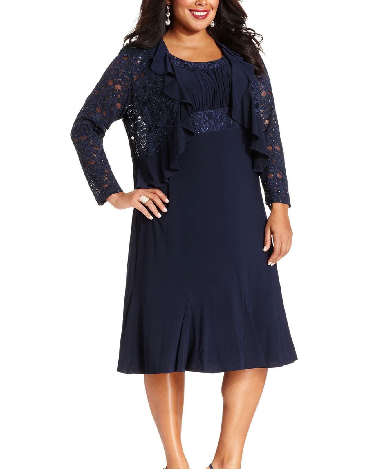 77343ee9c131d ... Dresses RM Richards Women s Plus Size Sequin Lace Ruffle Jacket Dress –  Mother of The Bride Wedding Dresses – Navy 22W.   