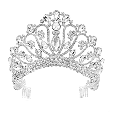 HerZii Crystal Bride Hair Accessory Wedding Tiaras And Crown For Rhinestone Pageant Crowns Head Jewelry Hair Ornament NQGhAYp