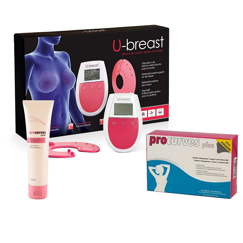 U-Breast + Procurves Plus et Cream: Appareil d'électrostimulation, pilules et crème pour augmenter les seins 1ubrepcpack1+1v