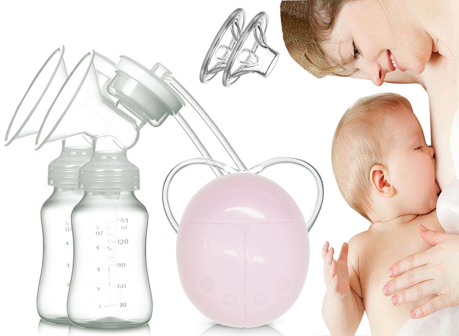 Electric Breast Pump Dual Expression with UK Charge Plug and Automatic Massage for Postpartum Prolactin Pink CanonG