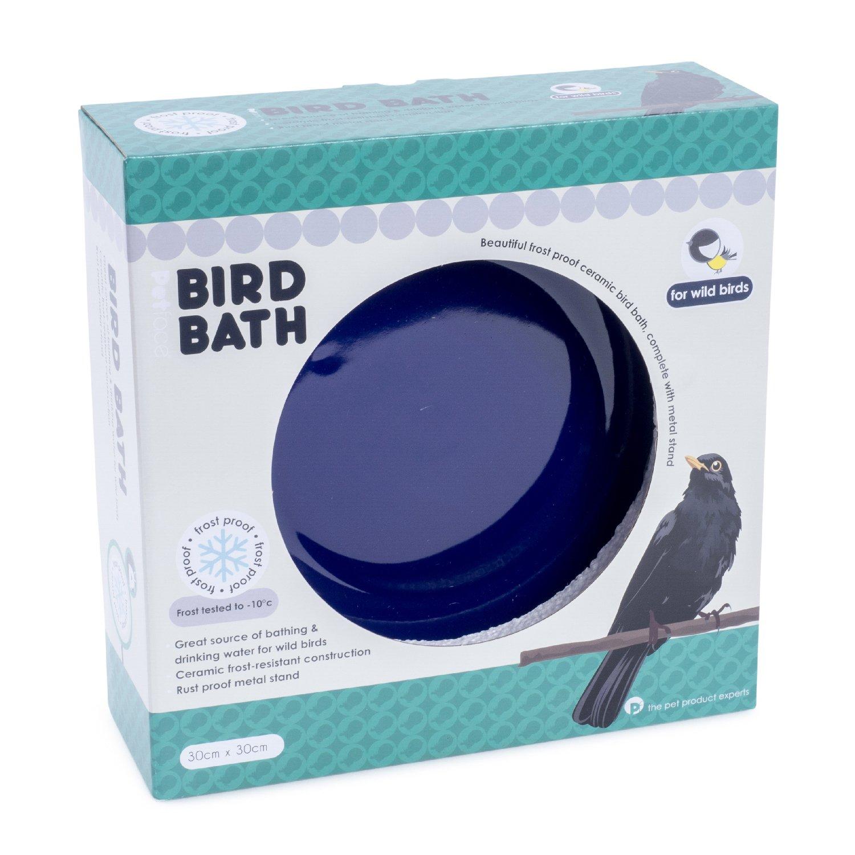 Petface Ceramic Bird Bath (Blue) and Stand (30cm x 30cm) 32024DS1