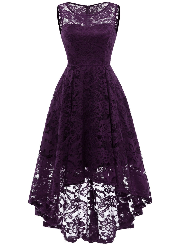 MUADRESS 6006 Women's Vintage Floral Lace Sleeveless Hi-Lo Cocktail Formal Swing Dress Grape M