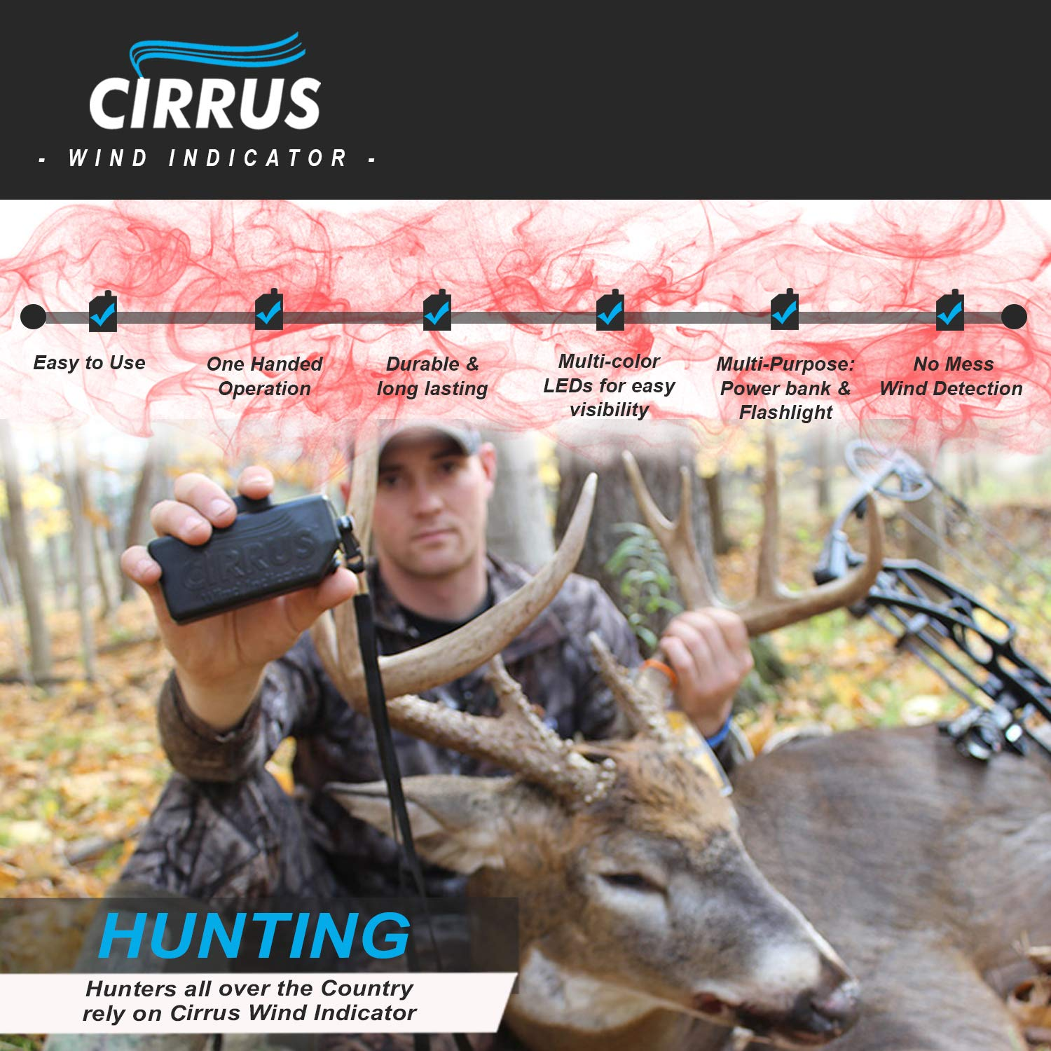 Cirrus Wind Indicator for Hunting - The Perfect Wind Checker Alternative to Messy Powder by Cirrus (Image #3)
