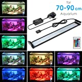 "MAINLICHT Aquarium Lights Remote Control Aluminum LED Lighting RGB Fish Tank Aquarium Lights Kit 108pcs LED Bracket Lighting for 27""-35""(70-90cm) Water Tank"