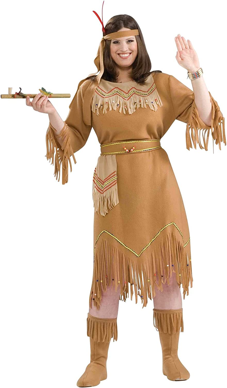 Forum Novelties Women/'s Native American Indian Maid Plus Size Costume Brown,