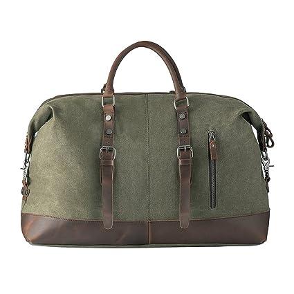 Bolsas de viaje, P.KU.VDSL Bolsa de fin de semana de lona, Travel Duffle, bolsa de lona Overnight Bolsa de tela de cuero, bolsas de hombro para el ...