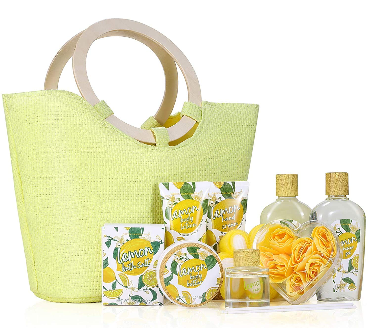 Spa Gift Baskets for Women- 10 Pcs Lemon Scent Bath Set in Beautiful Tote Bag, Best Women Gifts Set for Birthday Christmas : Beauty