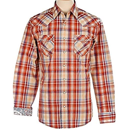 ef35b0debd Panhandle Rough Stock Slim Fit Long Sleeve Vintage Plaid Snap Shirt at  Amazon Men s Clothing store