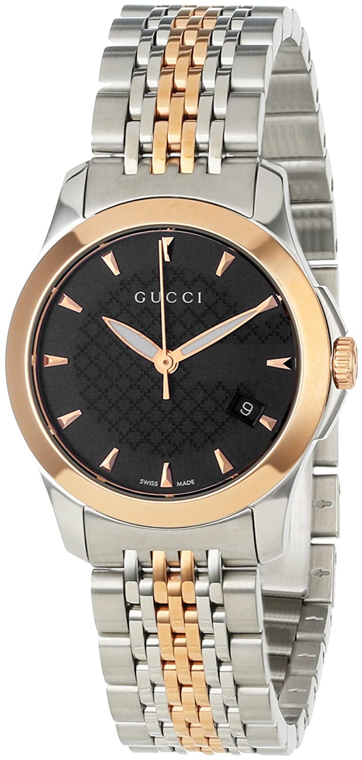 646784b214e Amazon.com  Gucci Women s YA126512 Gucci timeless Steel and Pink PVD Black  Dial Watch  Gucci  Watches