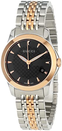 3a98ec1eb2 Gucci Women's YA126512 Gucci timeless Steel and Pink PVD Black Dial Watch
