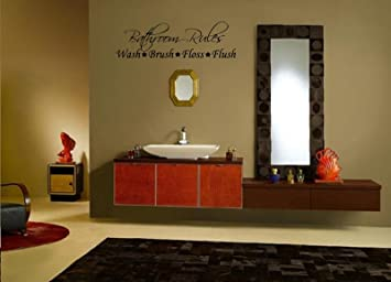 Bathroom Rules Wall Decal 23u0026quot;wide X 8.7u0026quot;high Black