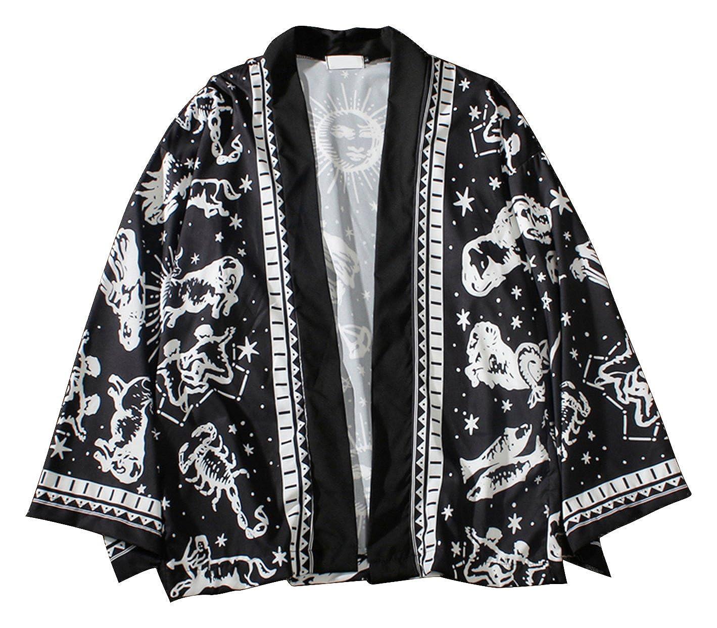 Pizoff Kimono Stile Giapponese Tutto Stampato Vestaglia Leggera con Maniche a 3/4 Unisex
