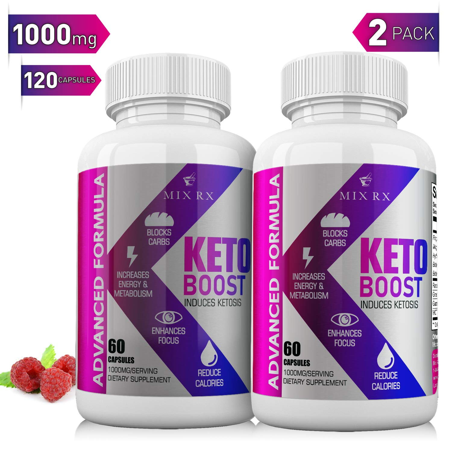 (2 Pack   120 Capsules) Keto Pills with Carb Supplement - Exogenous Ketones - Utilize Fat for Energy with Ketosis for Women Men - Health Energy & Focus, Manage Cravings, Support Metabolism - BHB Salts by Mix Rx