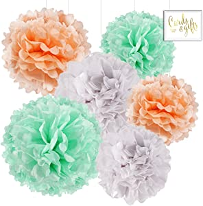 Andaz Press Hanging Tissue Paper Pom Poms Party Decor Trio Kit with Free Party Sign, Peach, Mint Green, White, 6-Pack, for Champagne Spring Baby Shower Easter Classroom Decorations