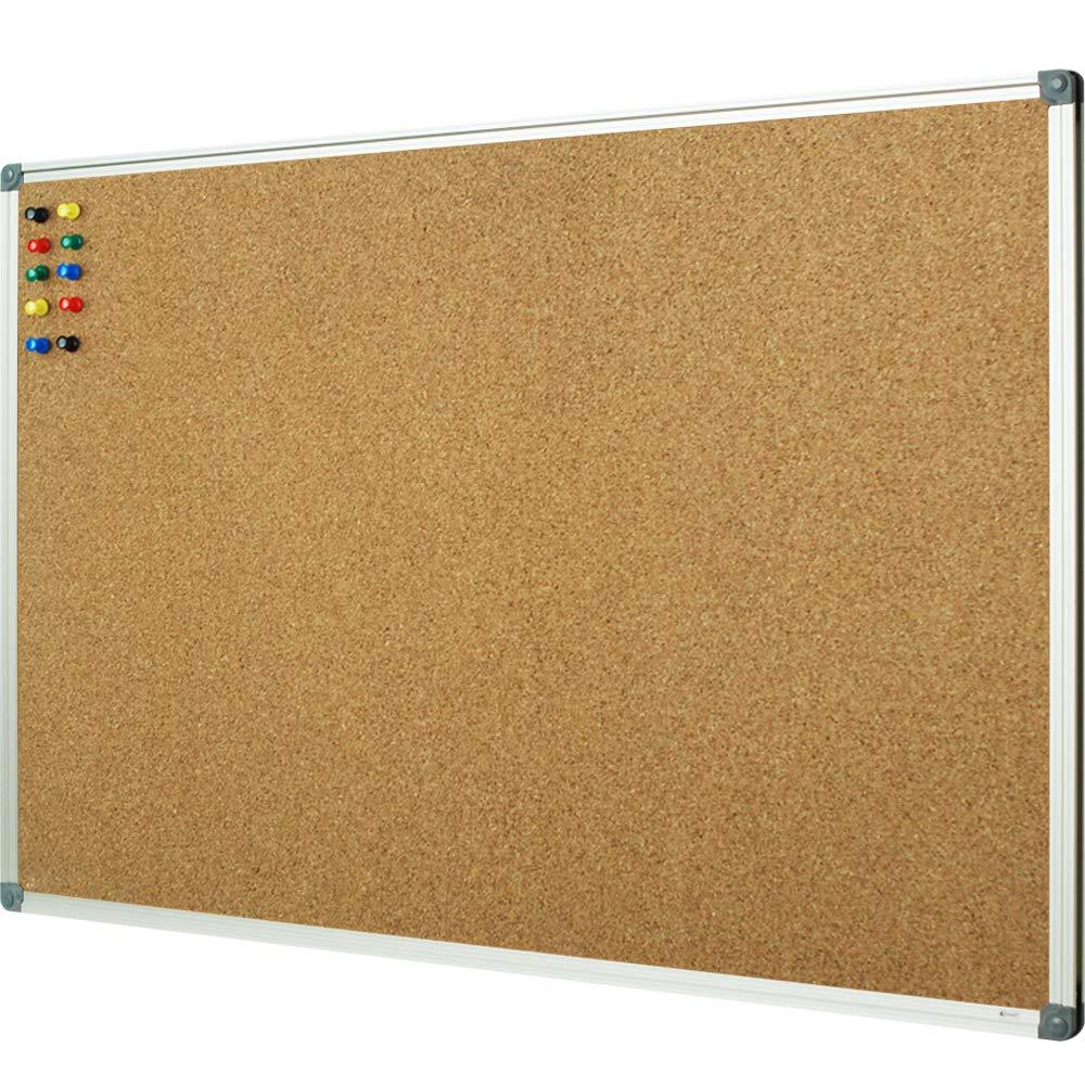 Lockways Corkboard Bulletin Board, Double Sided Cork Board 48 x 36 Inch, Notice Message Pin Board, Silver Aluminium Frame by Lockways