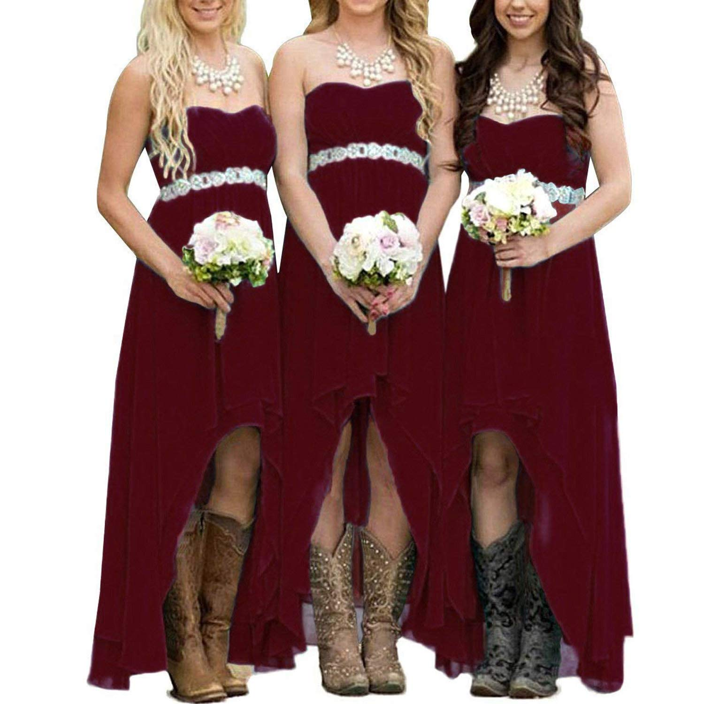 EUMI Chiffon Bridesmaid Dresses High Low Strapless Country Bridal ...