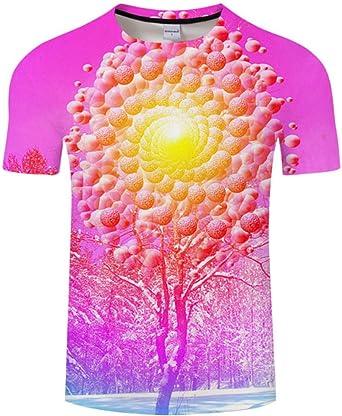 Camiseta con Nieve y Sol en 3D y árboles para Hombres y ...
