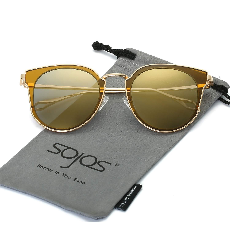 0436e5b879f SojoS Fashion Polarized Sunglasses UV Mirrored Lens Oversize Metal Frame  SJ1057 product image