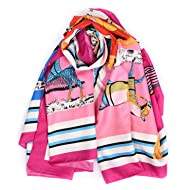 """BeCann Twill Silk Scarf Horse Printed Women's Large Square Satin Scarf Sunscreen Shawls Wraps 51"""" (Hot Pink)"""
