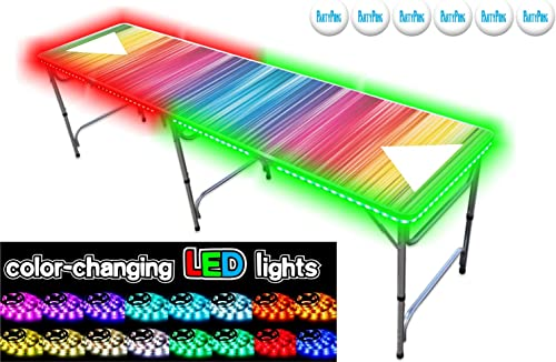 PartyPongTables.com 8-Foot Professional Beer Pong Table w Optional Cup Holes LED Lights - Bubbles and Color Spectrum Editions